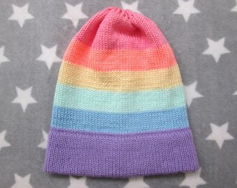 Knit Pride Hat - Pastel LGBT Rainbow - Slouchy Beanie