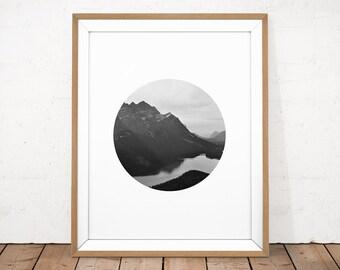 Printable Photography, Black and White Mountains, Mountain Printable, Circle Photography, Landscape Photo, Monochrome Photo, Photography Art