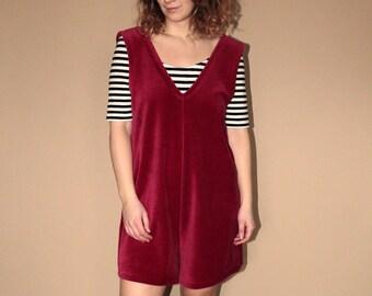 Red minimal chic velvet overall