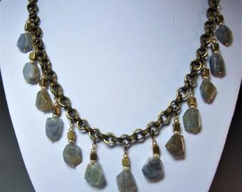 Vintage brass chain and Labradorite gemstone necklace