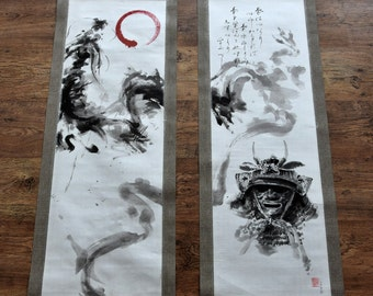 Samurai Painting, Dragon Calligraphy Scroll, Original Bushido Art, Zen, Sumi-e, Japanese Armor, Set of 2 Artwork