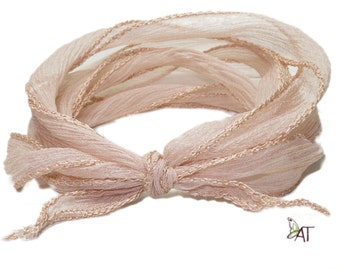 100% Silk Crinkle Ribbon- Hand Dyed - SAND
