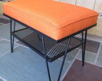 Vintage Mid Century Retro Hairpin Leg Upholstered Footstool Completely Restored Black Orange