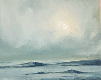 Mist over the Calm Sea- Original Ocean Seascape Oil Painting- Monochromatic Blue Landscape Minimalist Art- Fog over the Water