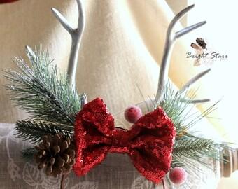 red sequin headband - silver headband - antler headband - holiday headband - Christmas headband - sequin bow headband - deer antler headband