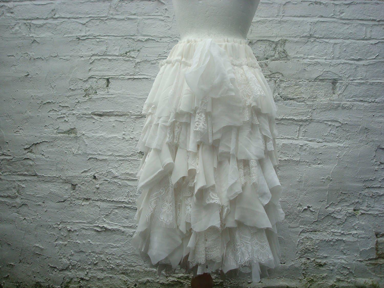 Tattered Wedding Skirt Bridal Shredded Ivory