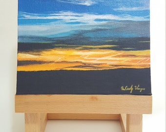 Sunset-6x6 Original Acrylic Painting on Canvas Panel