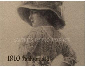 VINTAGE STYLE POSTCARD,1910 Reproduction Fashion Postcard,Vintage Fashion,Stationary,Postcards,Sepia Postcard,Edwardian Lady Sketch Postcard