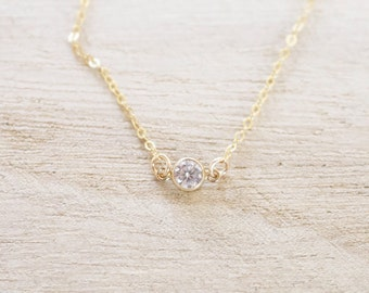 Dainty gold solitaire CZ necklace, solitaire necklace, cz necklace, dainty necklace, gold cz necklace, solitaire crystal necklace, layering