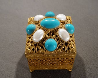 Vintage Signed Florenza Gift Jewelry Trinket Box Gold Tone Etched Scroll Filigree Design 8  Oval Faux Pearl Sleeping Beauty Turquoise Stones