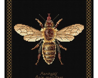 Counted Cross Stitch KIT Thea Gouverneur HONEY Bee on Black 8x8 -Free US Shipping!!!