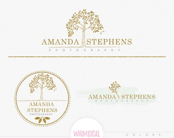 Big Olive Tree -Premade Photography Logo and Watermark, Classic Elegant Script Font GOLD GLITTER TREE childrenCalligraphy Logo