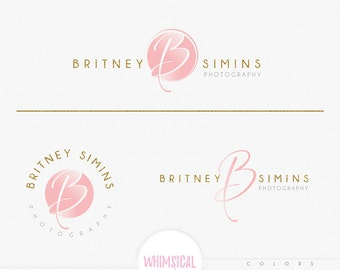 Initial emblem 1-Feminine Logo Watercolor Design Branding Package Inc. Photography - GOLD GLITTER initials letters script Watercolor Logo