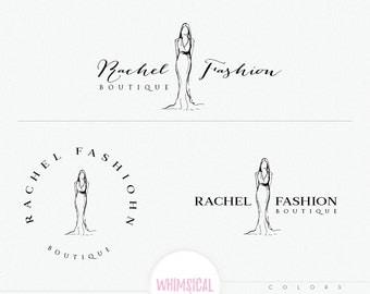 Fashion Logo - Hand Sketch Style Logo - Fashion illustration - sketchy logo style - Pretty women wearing sketchy dress