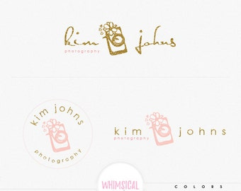 whimsical camera 4 flower drawing - modern illustration of camera- feminine branding- Brand Identity for Children and family photographer