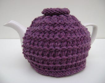Hand Knit Tea Cozy in Plum.Teapot Cozy.