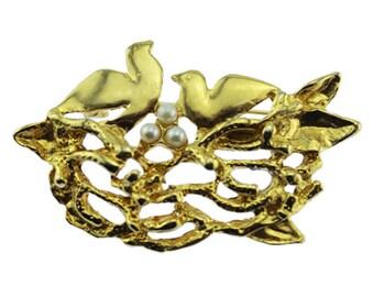 Gold Bird Brooch, Gold and Pearl Bird Brooch, Gold Bird Brooch, Gold Bird Pin