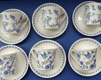 Nice Set of SIX Figgjo Flint: Turi Design / Lotte Cups and Saucers