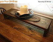 """SALE 11.5"""" x 40 x 7.5"""" h Table Riser Bench Centerpiece TV Entertainment Center Dark Walnut Stained Wood Block Custom Sizes & Colors Availabl"""