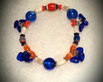 Unofficial Denver Broncos Bracelet Orange White Blue 7 Inch Stretch Bracelet Denver Broncos Colors Broncos Bracelet Glass Beads, Silver Star