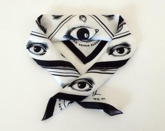 Hipster scarf, Eyes Illuminati, Neckpiece, Neckerchief foulard.