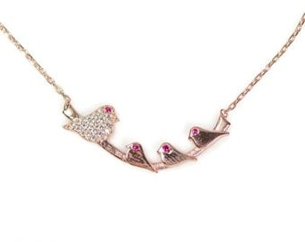Sterling Silver Rose Gold Vermeil Created Ruby Eyed Mommy Bird Branch Necklace