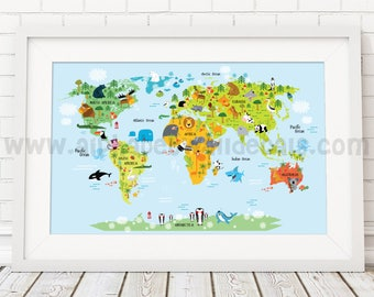 Map Poster, Nursery Wall Art, Playroom Poster, Map of the world poster, Map with Animals  - 23-0001