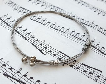 Guitar string bracelet bangle Size XS, guitarist, guitar player, cool music rock jewellery (65mm diameter)
