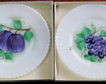 Milk Glass Fruit plates with ruffle edge