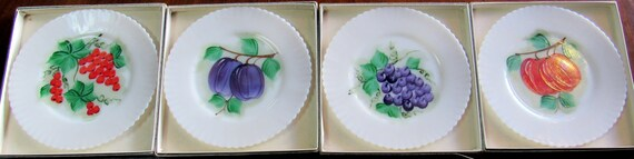Milk Glass Fruit plates with ruffle edge