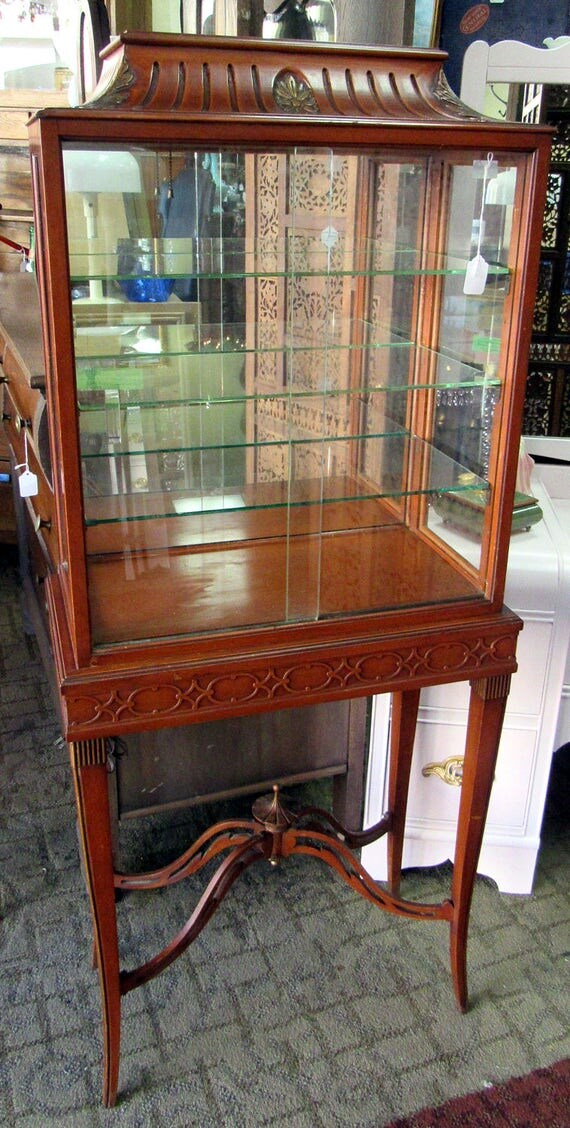 Curio cabinet neo classical design with light