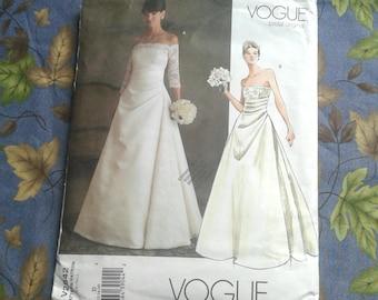 Vogue Bridal Original.  Strapless Wedding Gown Pattern.  Size 12-14-16.  Pattern No. V2842.