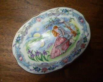 "MUSIC BOX.  1980's Vintage Porcelain Music Box Plays ""Some Enchanted Evening"""