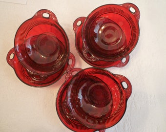 RUBY RED GLASS. Set of Six Berry / Desert Bowls. Vintage Anchor Hocking Ruby Red Glass. 1940's Vintage Ruby Red Glass.