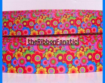 """5 yds  5/8"""" and 7/8"""" Psychedelic Flower Power Retro Daisy Grosgrain Ribbon"""