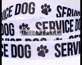"5 yds 5/8"" or 7/8"" Service Dog in White Dog Collar Grosgrain Ribbon"