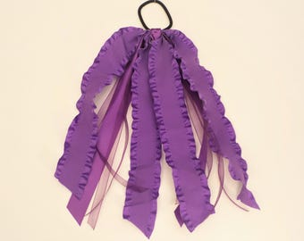 Purple Ruffled Ponytail Streamer