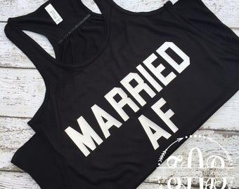 Married AF Women's Tank- Honeymoon Graphic Tee