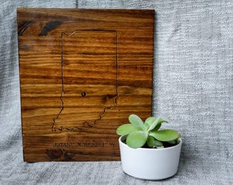 Indiana | Wood burnt map