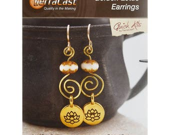 Golden Lotus Earrings DIY Kit - TierraCast Quick Kits