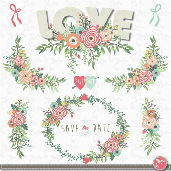 Wedding pack: WEDDING LOVE FLORAL vintage