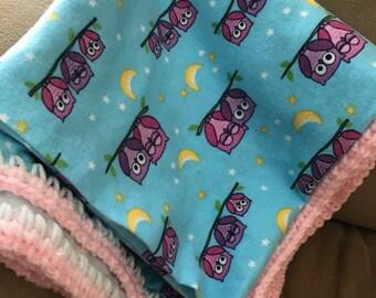 Flannel owl pink & blue baby blanket
