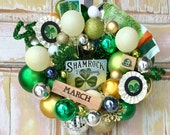 Irish wreath; St. Patricks Day wreath; ornament wreath; vintage St. Patricks Day; Shamrock wreath; Vintage ornament wreath