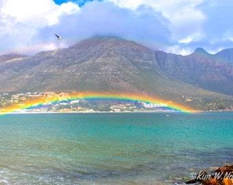 Rainbow photo Rainbow decor Cape Town gifts Hout Bay Ocean decor Double rainbow South Africa photography African rainbow Mountains Ocean