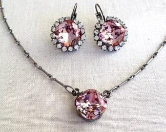 Swarovski, Rhinestone Necklace Earring Set, gift set, rustic wedding, bridesmaid, holiday, gift for her, blush, antique pink, mauve,  purple