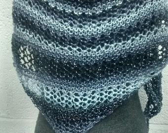 Hand Knitted Trianglular Scarf, Shawl in Black and Grey with Tassels