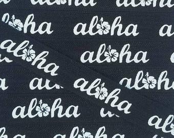 5/8 BLACK with WHITE Aloha Fold Over Elastic