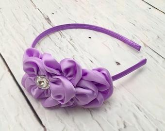 Lavender Chiffon Flower Headband, Layered Satin Flower Headband, Easter Headband, Flower Girl, Wedding Accessories