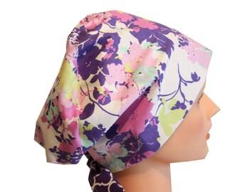 Scrub Hat Surgical Scrub Cap Chemo Chef Vet Nurse Dr Hat European Style Pixie Lilac Lavender Floral 2nd Item Ships FREE