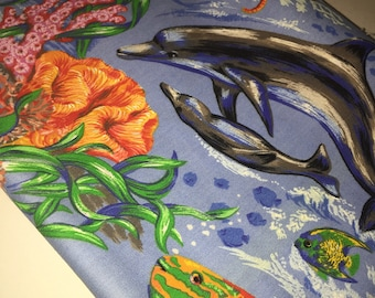 Dolphin Fabric Beautiful Pod Family by Cranston - Stunning Illust. Ocean Reef Sea Seahorses Tropical Fish 100% Quality Cotton  Rare